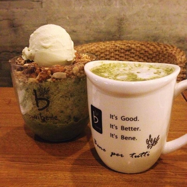GREEN TEA galore at Caffe Bene! Their Bingsu reminds me of our very own halo-halo; only finer and with a distinct, solid flavor. Available in green tea, coffee, or strawberries. Love Caffe Bene's ambiance in Takhasussi Street. - J ‪#caffebene‬ ‪#coffeeshop‬ ‪#cafe‬