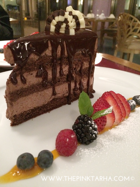 Chocolate mousse cake for dessert.