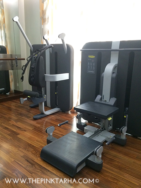 The gym is well-equipped with weight training and cardio machines.