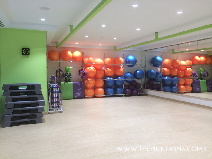 A studio space for their Zumba, Fitball, Step and other classes.